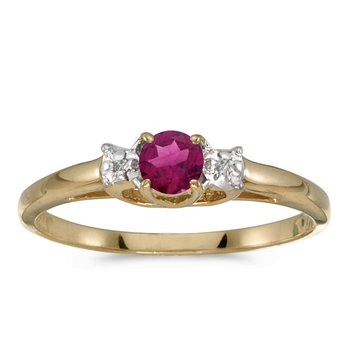 14k Yellow Gold Round Rhodolite Garnet And Diamond Ring