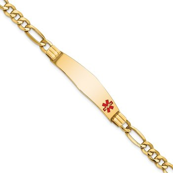 14K Semi-Solid Medical Soft Diamond Shape Enamel Figaro Link ID Bracelet