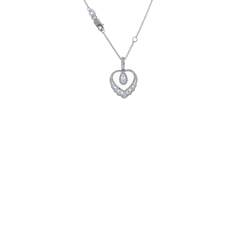 Roberto Coin 18Kt White Gold Diamond Heart Necklace
