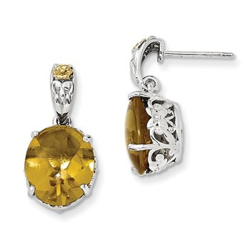 Sterling Silver w/14k Whiskey Quartz Earrings