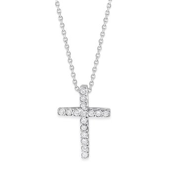 Diamond Small Cross Necklace in 14K White Gold with 16 Diamonds Weighing .15ct tw.