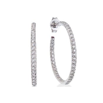 Small Inside Outside Diamond Hoop Earrings