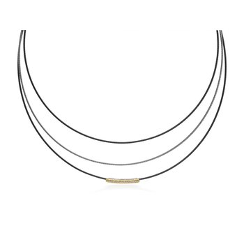 Grey & Steel Grey Cable Illusion Necklace with 18kt Yellow Gold & Diamonds