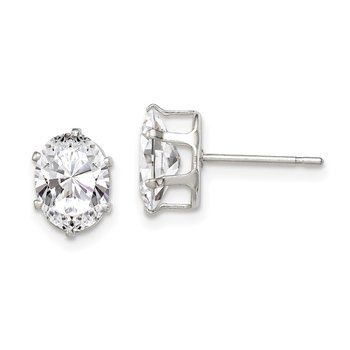 Sterling Silver 8x6 Oval Snap Set CZ Stud Earrings