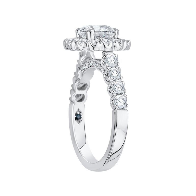 14K White Gold Round Halo Diamond Engagement Ring (Semi-Mount)