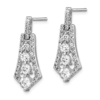Sterling Silver Rhodium-plated CZ Journey Earrings