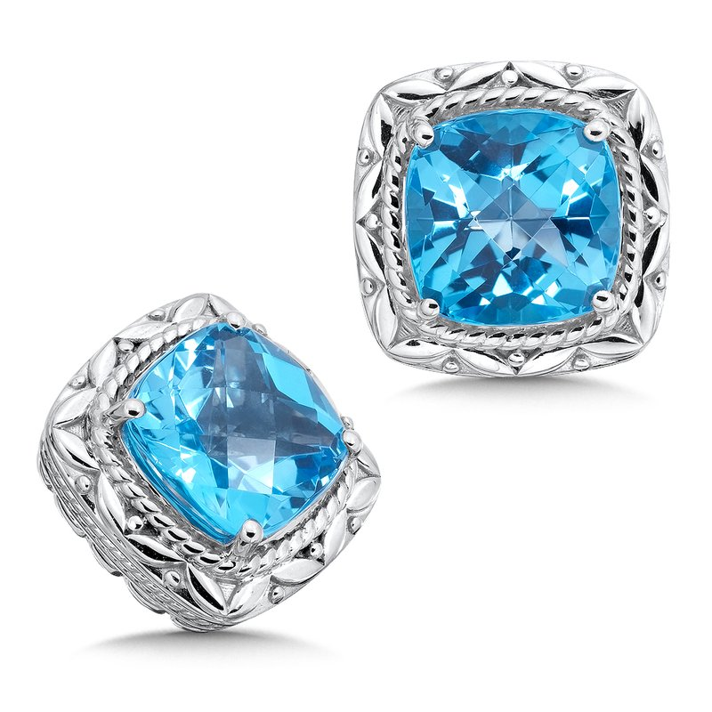 Colore Sg Sterling Silver Swiss Blue Topaz Post Earrings
