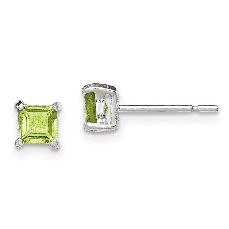 Sterling Silver Polished Green CZ Post Earrings