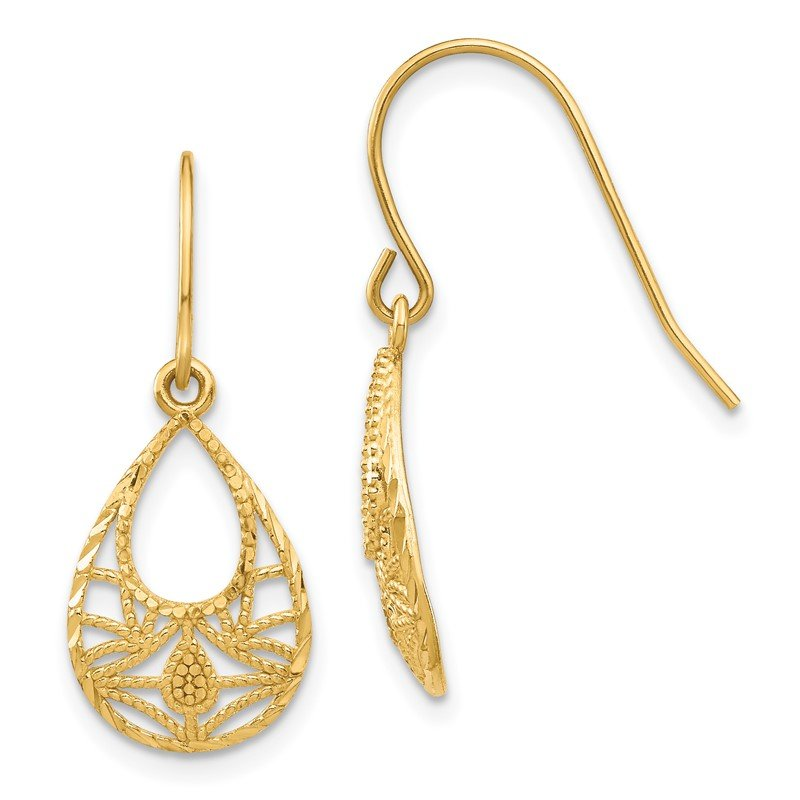 Quality Gold 14K Diamond-cut Dangle Earrings