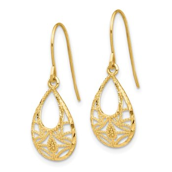 14K Diamond-cut Dangle Earrings