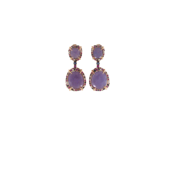 18Kt Gold Earrings With Lavenser Jade, Pink Sapphire, Iolite And Diaomnds