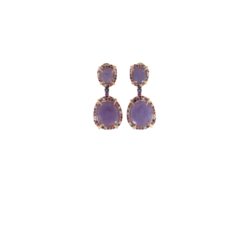Roberto Coin 18Kt Gold Earrings With Lavenser Jade, Pink Sapphire, Iolite And Diaomnds