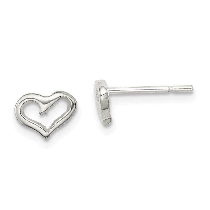 Arizona Diamond Center Collection Sterling Silver Heart Post Earrings