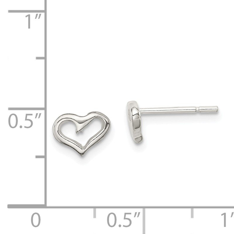 Quality Gold Sterling Silver Heart Post Earrings