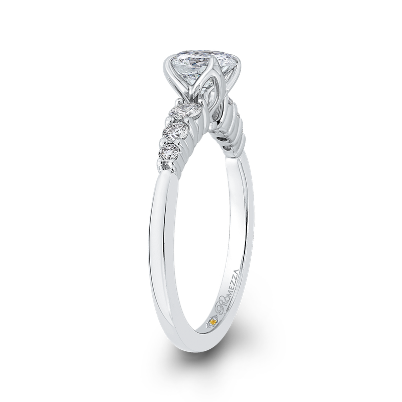 Promezza 14K White Gold Round Cut Diamond Floral Engagement Ring