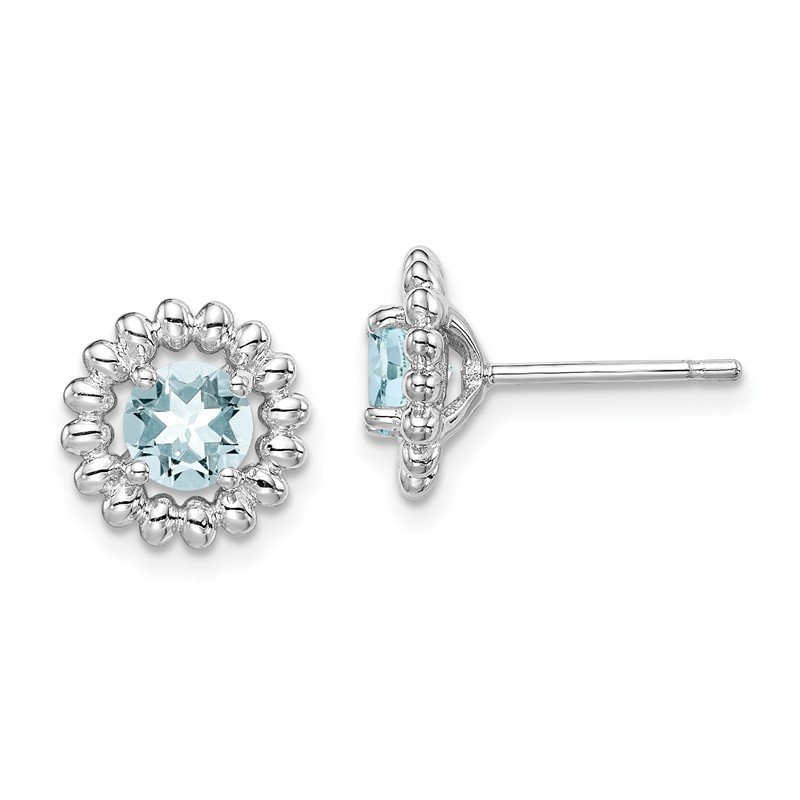 Quality Gold Sterling Silver Rhod-plat Aquamarine Earrings