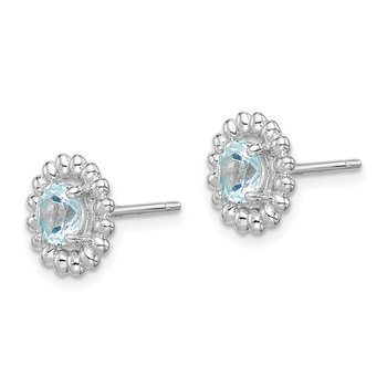 Sterling Silver Rhod-plat Aquamarine Earrings
