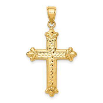 14k Reversible Diamond-cut Cross Pendant