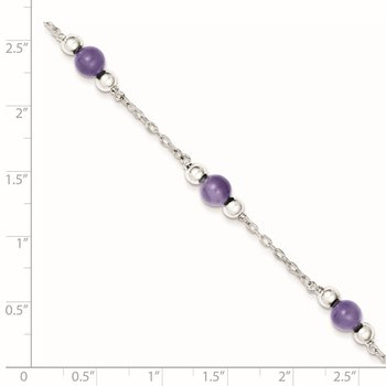 Sterling Silver Rhodium-plated 9inch Polished Lavender Jade Anklet