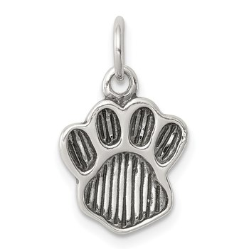 Sterling Silver Polished and Antiqued Paw Pendant