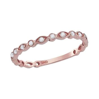 14kt Rose Gold Womens Round Diamond Stackable Band Ring 1/8 Cttw