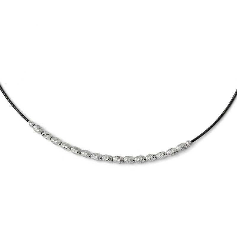 Leslie's Leslies Sterling Silver Diamond-cut Beaded w/ 2.5in ext. Necklace