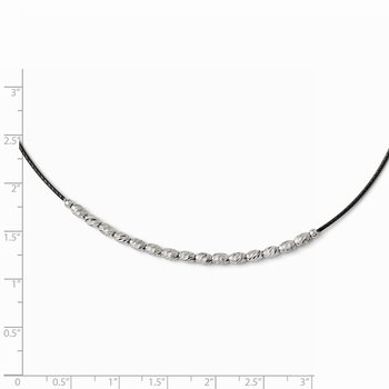 Leslies Sterling Silver Diamond-cut Beaded w/ 2.5in ext. Necklace