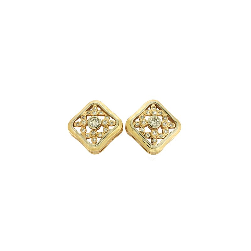 S. Kashi  & Sons Two Tone Diamond Earrings