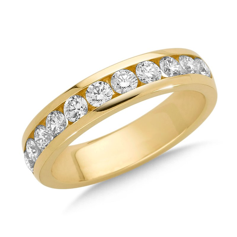 Channel set Round Diamond Wedding Band 14k Yellow Gold (1/7 ct. tw.)
