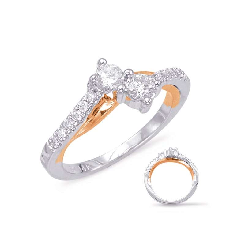 S. Kashi  & Sons White & Rose Gold Two Stone