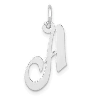 14k White Gold Small Fancy Script Letter A Initial Charm