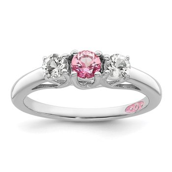 10k White Gold Survivor Collection Clear/Pink Swarovski Topaz Pamela Ring
