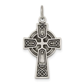 Sterling Silver Antiqued Satin Celtic Cross Pendant