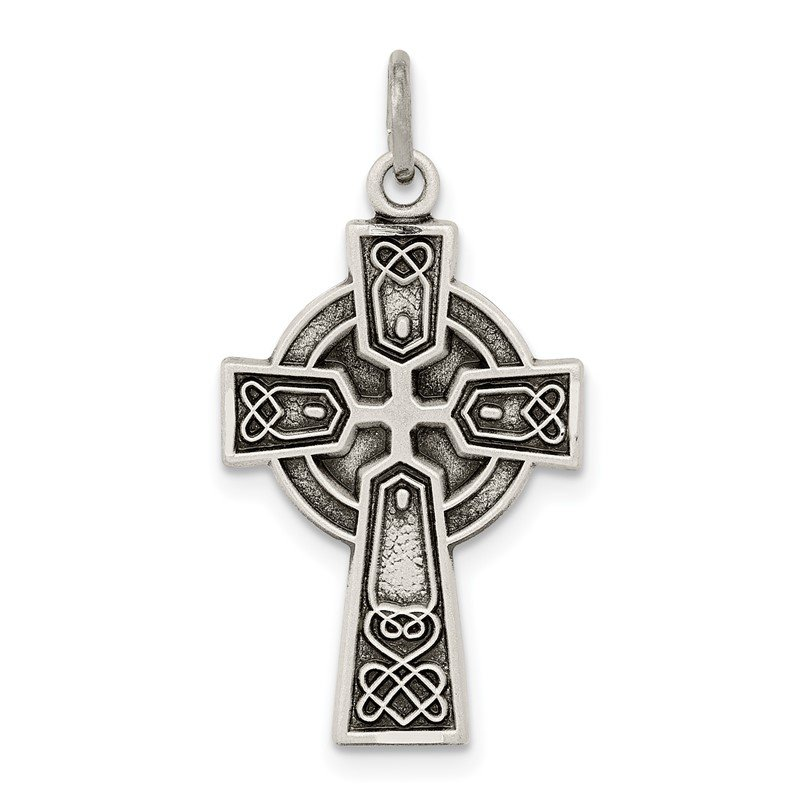 Quality Gold Sterling Silver Antiqued Satin Celtic Cross Pendant