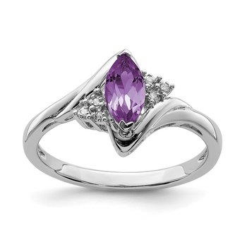 Sterling Silver Rhodium-plated Diamond & Amethyst Ring