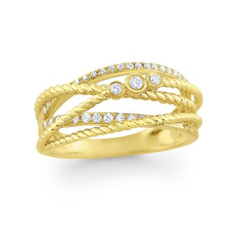 14K Gold and Diamond Bezel Set Basket Weave Ring: