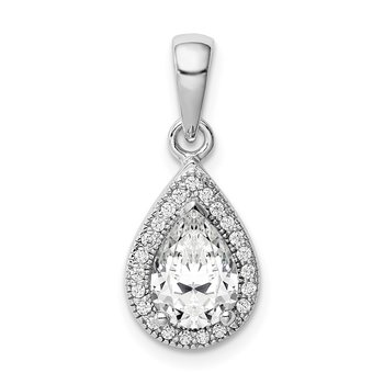 Sterling Silver Rhodium Plated CZ Pendant