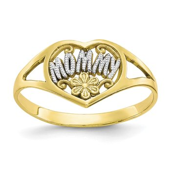 10K w/rhodium Mommy Heart Ring