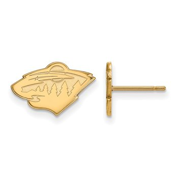 Gold-Plated Sterling Silver Minnesota Wild NHL Earrings