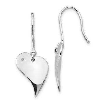 SS White Ice .01ct. Diamond Heart Earrings