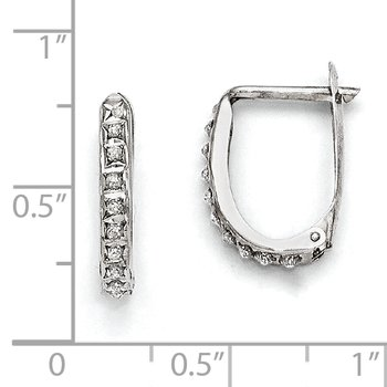 14k White Gold Diamond Fascination Leverback Hoop Earrings