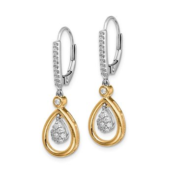 14k Two-tone Oval Cluster Diamond Leverback Earrings
