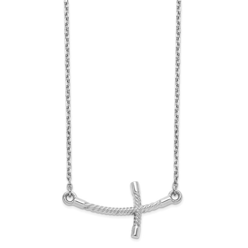 Quality Gold 14k White Gold Large Sideways Curved Twist Cross Necklace