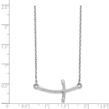 14k White Gold Large Sideways Curved Twist Cross Necklace