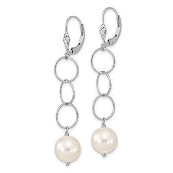 Sterling Silver Rhodium-plated 10-11mm Swarovski Pearl Earrings