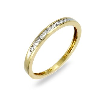 14K YG Diamond Wedding Band. Avl in Sizes 4-7