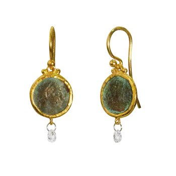One of a kind drop earring in 24K gold featuring a 10mm roman coin, white diamond briolette 0.30cts, gold hook with gold granulation.