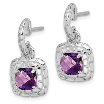 Sterling Silver Rhodium-plated Amethyst Earrings