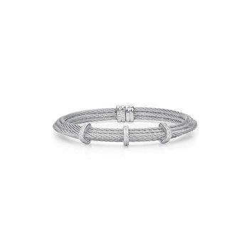 Grey Cable Tiered Stackable Bracelet with Triple Diamond Station set in 18kt White Gold