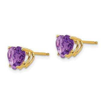 14k 7mm Heart Amethyst Earrings